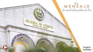 Side angle view of a white church building labeled as the Iglesia Ni Cristo with branded seal marking.