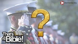 soldiers saluting and a gold question mark