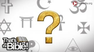 religious symbols with a gold question mark