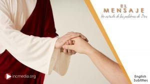 A portrayal of Jesus holding the hand of a male hand while dressed in white and burgundy robe clothing