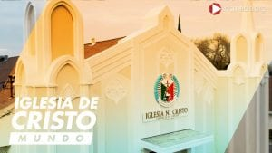 Iglesia Ni Cristo - Church Of Christ house of worship sideview facade showing seal, parts of roof top and steeples.