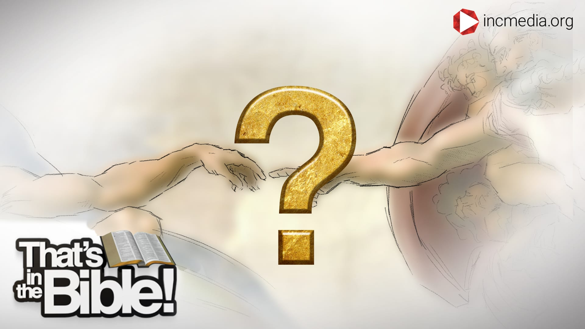 image from the Sistine chapel of the hand of God and Adam with a gold question mark