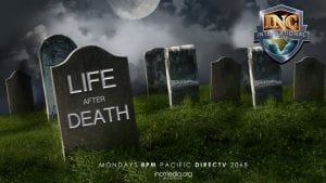 life after death text on a tombstone in a graveyard