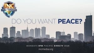 """Warsaw skyline with text overlay: """"Do you want peace?"""""""