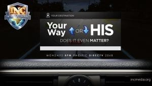 """Top of car dashboard gps screen with text overlay: """"Your destination, your way or His - does it even matter?"""""""