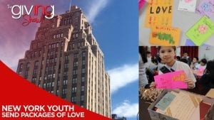 Photo collage of New York building, handmade cards from children, a child holding up a card he made, and a care package box.
