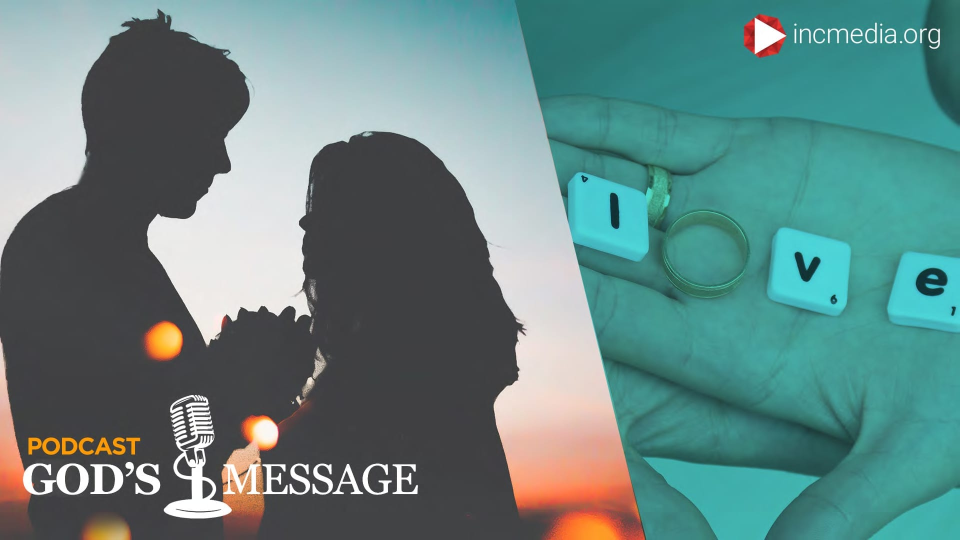 """Silhouette of man and woman holding hands, facing each other, and L, V, and E letters on a hand with a ring spelling, """"love."""""""