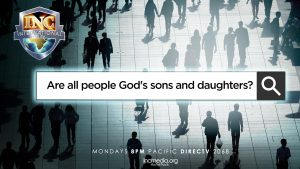 """silhouette of people in a public plaza with text """"are all people god's sons and daughters?"""""""