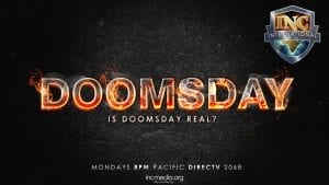 """The word """"Doomsday"""" in fire with text under """"Is Doomsday Real?"""""""