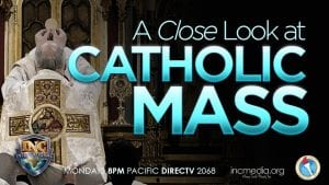 Back of priest holding bread in the air with over lay text A Close Look At Catholic Mass