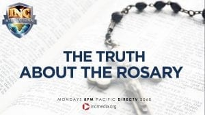 Rosary and crucifix with the text overlay of The truth about the rosary