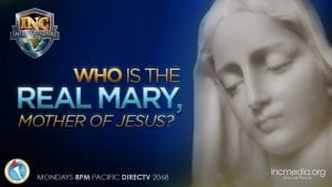 """A depiction of Mary with a blue background with text """"Who is the real Mary, Mother of Jesus?"""""""