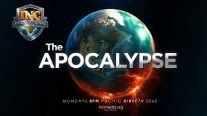 """Earth with a black background and overlay text of """"The Apocalypse"""""""