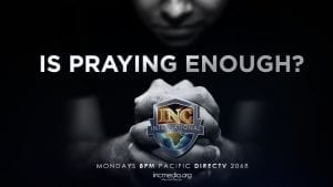 """person folding his hands together praying with overlay text that says """"Is Praying Enough?"""""""
