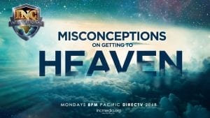 """cloudy and starry background with overlay text """"Misconceptions on getting to Heaven"""""""