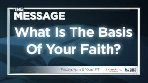"""Open book with blue overlay and text overlay: """"What is the basis of your faith?"""""""