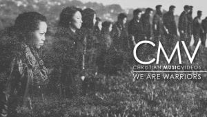 """Faded photo of people standing in line formation with intense stares with text overlay: """"We are warriors"""""""