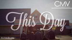 """Family holding hands walking into place of worship with text overlay: """"This day"""""""