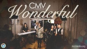 """Band in cafe with text overlay: """"Wonderful"""""""