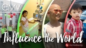 """Photo collage of children with sickness/disability with text overlay: """"Influence the World"""""""