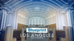 """interior of Los Angeles Church Of Christ Iglesia Ni Cristo house of worship with text: """"Blueprint Los Angeles California"""""""