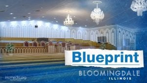 """Bloomingdale Iglesia Ni Cristo, Church Of Christ house of worship chapel with text: """"Blueprint Bloomingdale Illinois"""""""