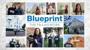 """A collage of people smiling with text in the middle: """"Blueprint The Framework"""""""