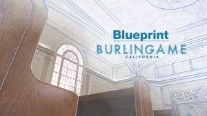 """interior and drawing of a Church of Christ house of worship chapel with overlay text: """"Blueprint Burlingame California"""""""