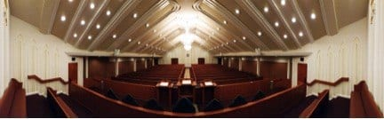 Panoramic shot from the choir loft of the interior of the Lubbock house of worship.