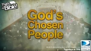 """worship service inside the Church Of Christ with overlay text """"God's Chosen People"""""""