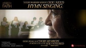 """collage, choir singing and close up profile of a woman with quoted text """"Every worship service, you need hymn singing. There (were) no choir members in Mexico, so a few volunteered to come..."""""""