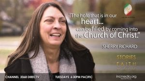 """woman smiling with quoted text """"the hole that is in our heart... can be filled by coming into the Church Of Christ"""
