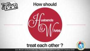 """red text graphic """"How should Husbands & Wives treat each other?"""""""