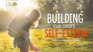 """kids riding piggy back with overlay text: """"Building your child's self-esteem"""""""