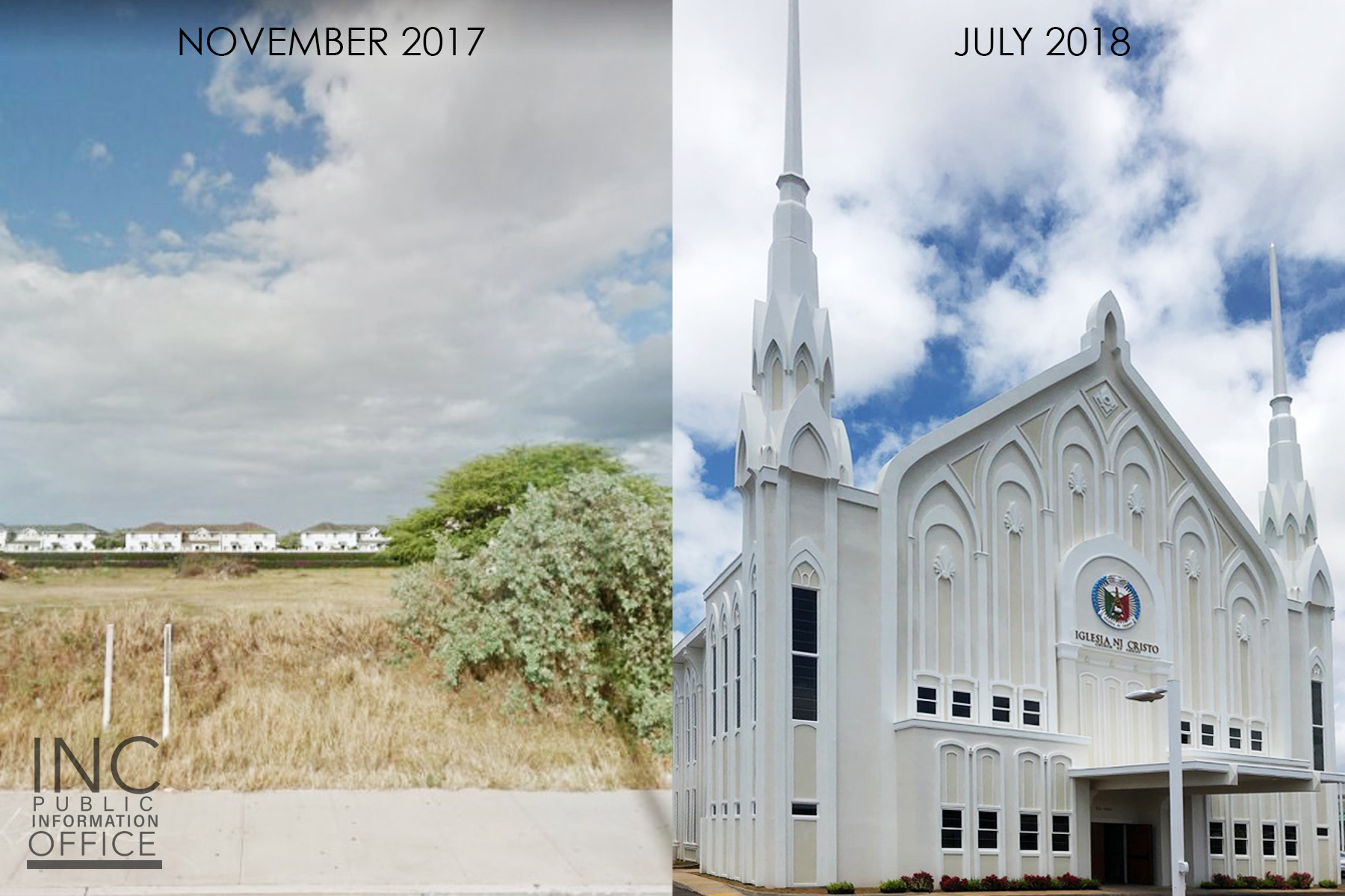 Before and after picture of how Chapel got built from November 2017 - July 2018