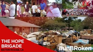 Collage of flood destructed home and volunteers with victims of flood