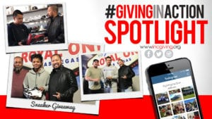 Jon Jon Figer giving sneakers to people with overlay text #GivingInActionSpotlight