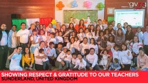 Large group of volunteers, students and teachers with overlay text Showing Respect & Gratitude To Our Teachers