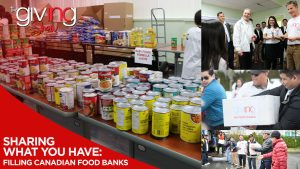 Collage of food donations and volunteers with overlay text Sharing What You Have