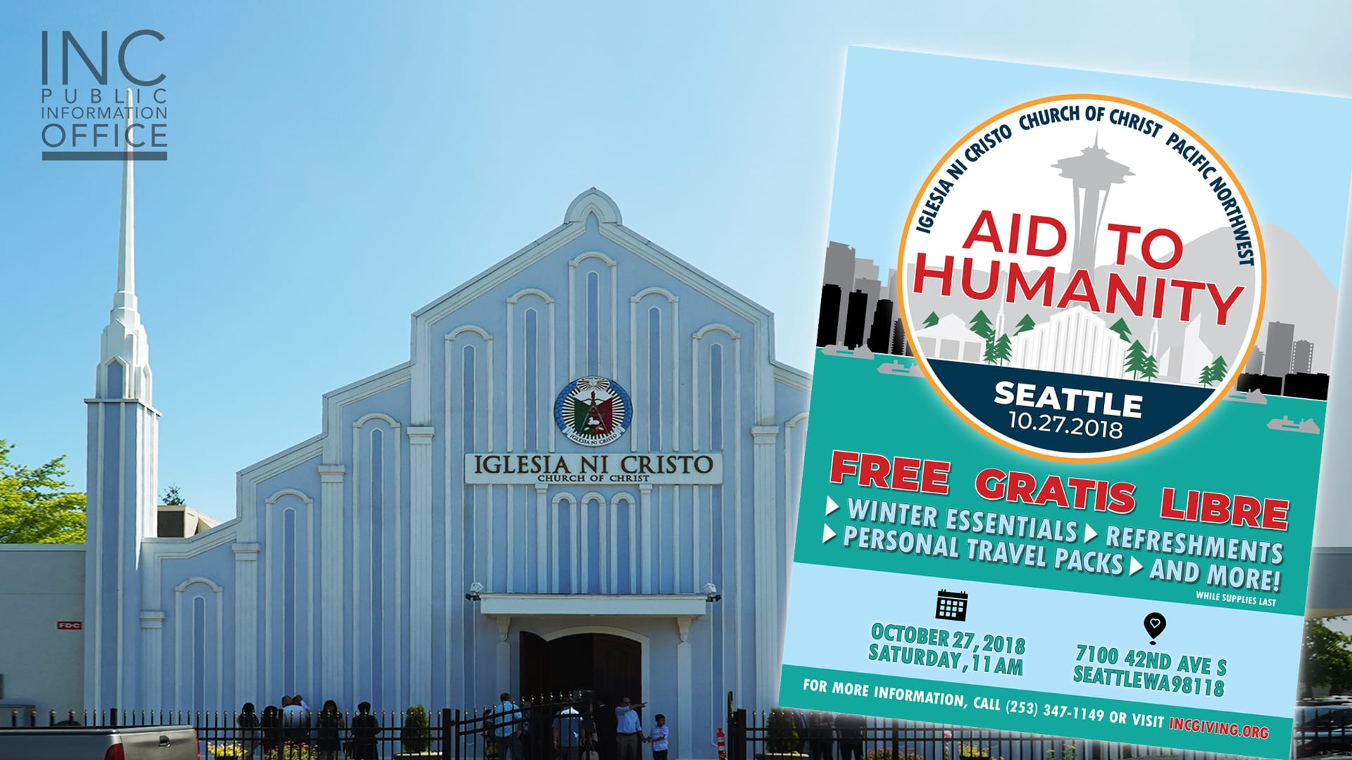 """Church Of Christ house of worship in Seattle, with overlay flyer: """"Aid to Humanity - Seattle"""""""