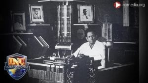 vintage picture of late Executive Minister of the Church Of Christ, Felix Y. Manalo, sitting at a desk