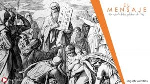 drawing of Moses holding stone tablets with Israelites surrounding him