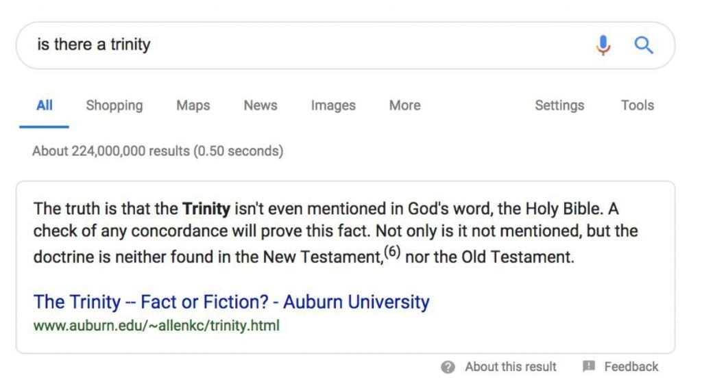 The first result from a search engine results page with the phrase 'Is there a trinity' typed into the search bar.