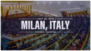 """worship service inside Church of Christ with overlay text: Milan, Italy - Pastoral Visitation"""""""