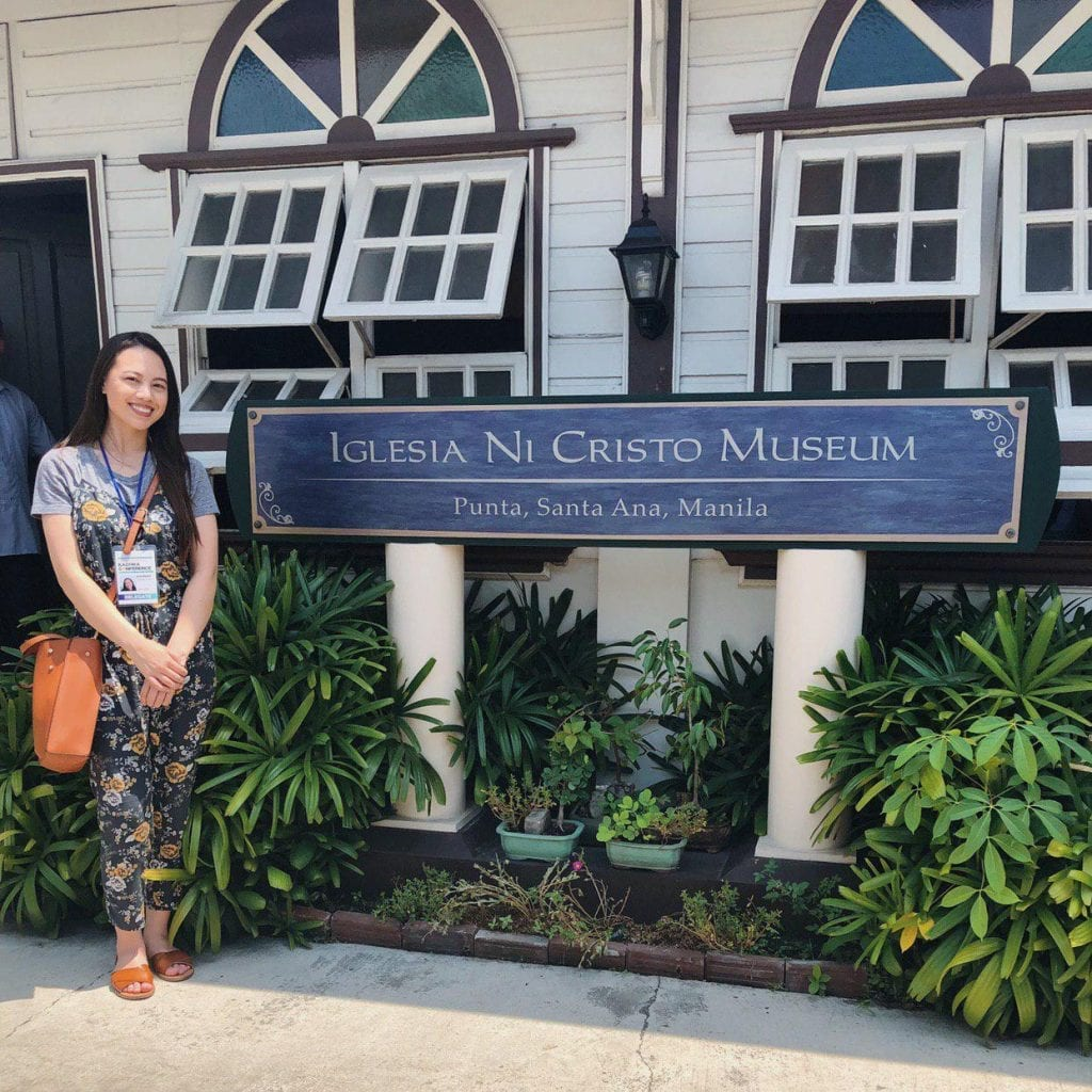 Hannah Achacoso in front of the Church Of Christ Museum in Punta Santa Ana Manila