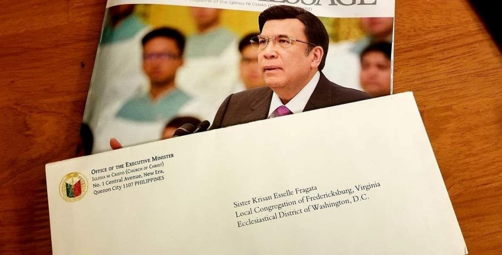 A letter from the Executive Minister of the Iglesia Ni Cristo (Church of Christ) congratulating a young woman on her graduation.