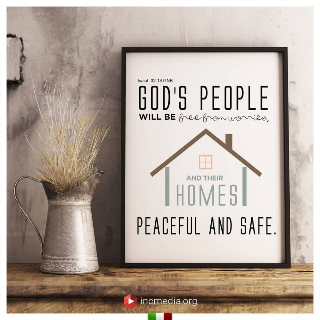 A wooden shelf with decorated with Bible verse inside a picture frame, Isaiah 32:16 God's people will be free from worries, and their homes peaceful and safe.
