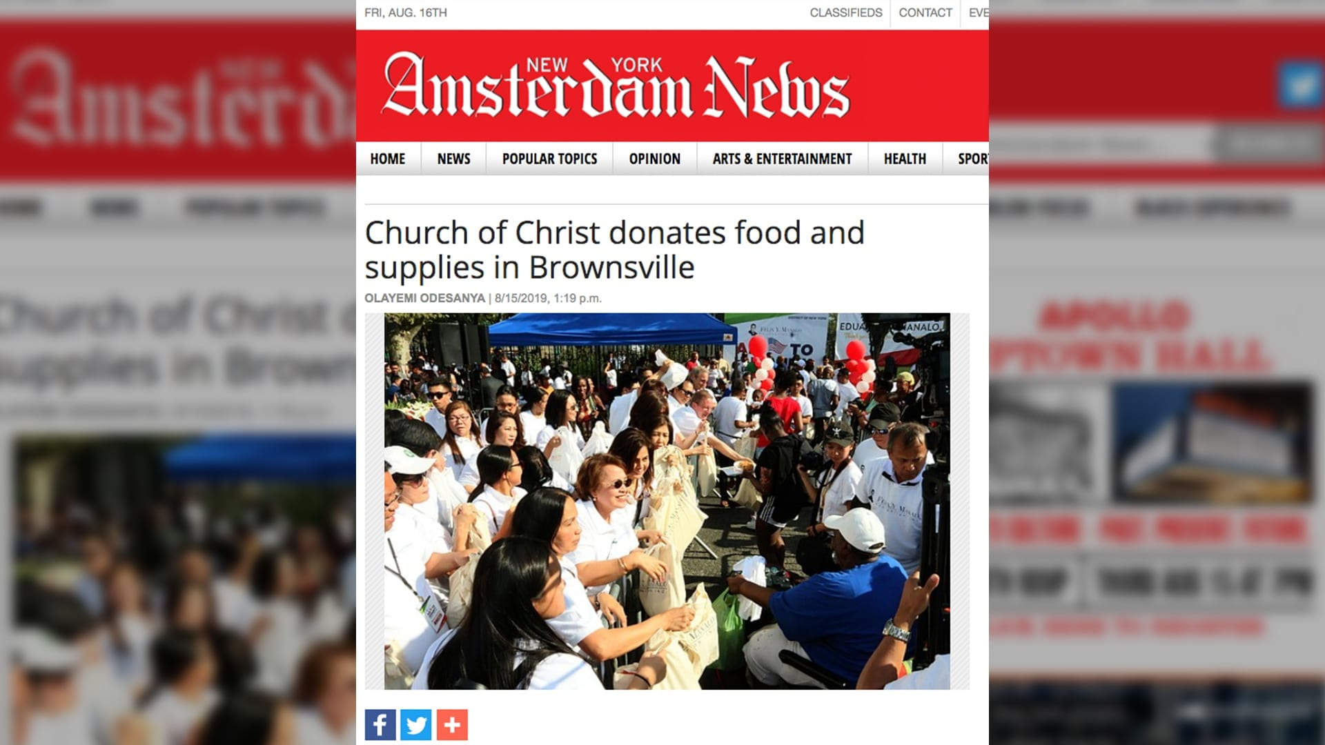 """Amsterdam News cover page with headline """"Church of Christ donates food and supplies in Brownsville"""