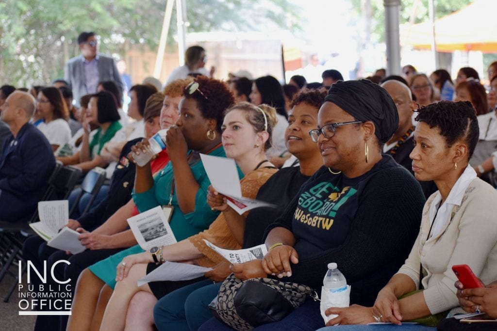 Filled seats of residents and honored service organizations attending the Aid to Humanity event at the Iglesia Ni Cristo (INC or Church Of Christ) Memphis Congregation property at 878 Mississippi Blvd.