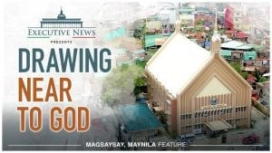 """Title Text """"Drawing Near to God"""" overlay with the Iglesia Ni Cristo chapel in Magsaysay, Maynila"""